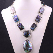 "Free shipping New without tags Jewelry Natural Blue New Zealand Abalone Shell Necklace 19-30"" 1Pcs FE391(China (Mainland))"