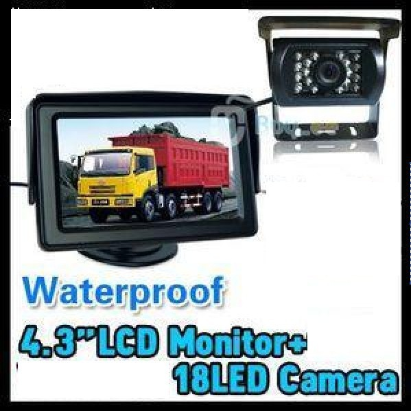 "NEW 4.3"" LCD Monitor+18 IR Reverse Camera Car Rear View Kit car camera free video cable BUS parking sensor"
