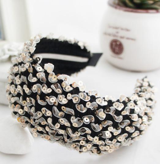 2016 New Japanese And Korean Style Fashion Sequin Fabric Broadside Headband Head Wear For Women(China (Mainland))