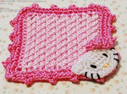 Hello Kitty Head Knitting Tea Coasters Cup Mat Pad Easter Day Gift dropship Funny Novelty Gift(China (Mainland))