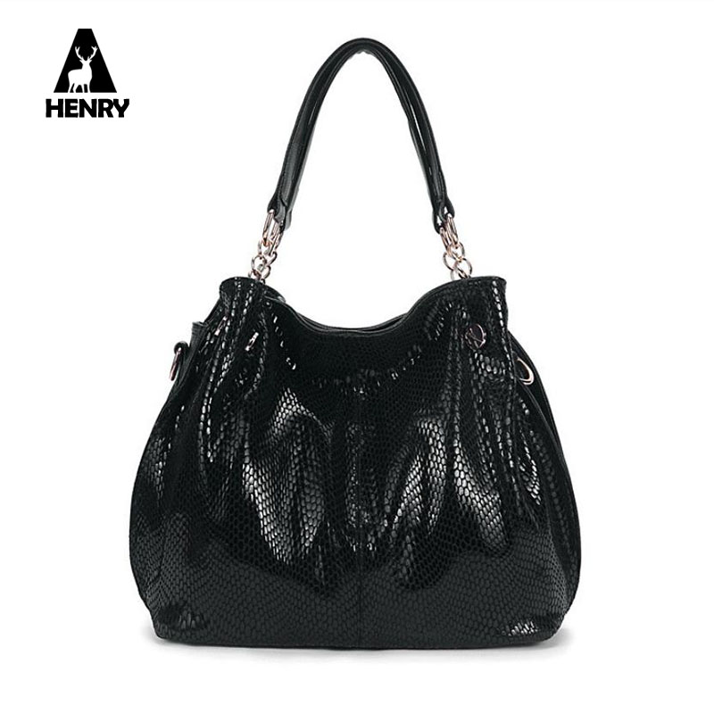 Split Leather Bag 2016 Fashion Commuter Bag Snakeskin Pattern Large Shoulder Bags Hobos Tote Bag Female Designer Handbag Bolsas(China (Mainland))