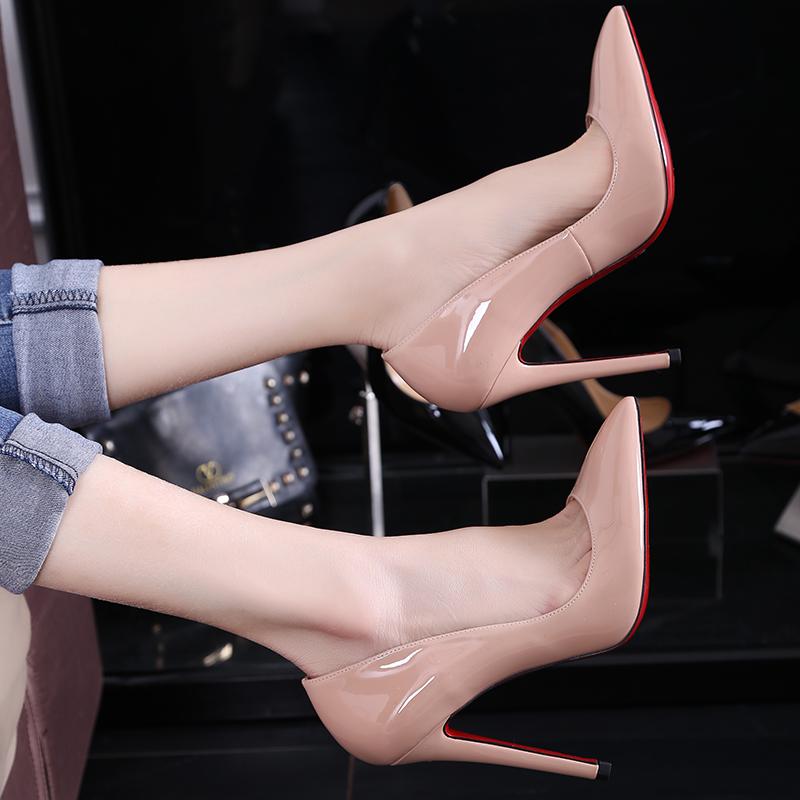 Marca de lujo de diseño Red Bottom tacones altos 8 / 10 / 12 cm mujeres Sexy bombea los zapatos moda mujer de piel de oveja de boda del partido de cuero(China (Mainland))