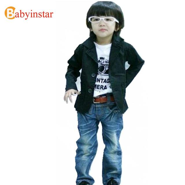 2015 Selling Well Boys All-match Casual Blazer Coat : Child Boys Black Jacket Spring Autumn Thin Cool Outwear kids Party Wear
