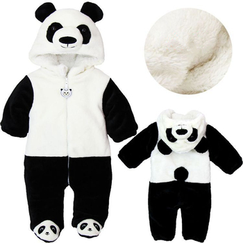 2016 new panda overall animal rompers cartoon boy/girl jump suit winter flannel plush infant clothes bebe clothing