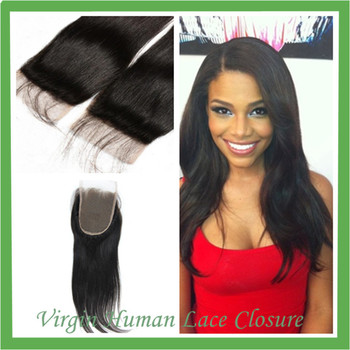 Queen Hair Products Malaysian Virgin Straight Virgin Malaysian Closure Straight Middle / Free Part 8-18inches 4x4