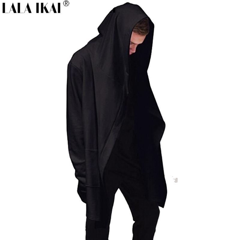 New Avant-garde Big Hood Double Coat-Coat Mens Hoodies Sweatshirts Black Cloak Assassins Creed Jacket Outwear Oversize SMC0042-5(China (Mainland))
