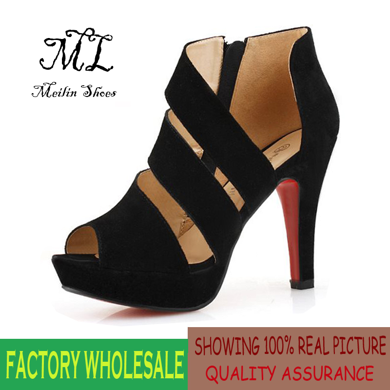 Fashion high-heeled 10 cm spike heel shoes woman sandals sexy hollow peep toe shoes chaussure femme black size 35-39 #B-3