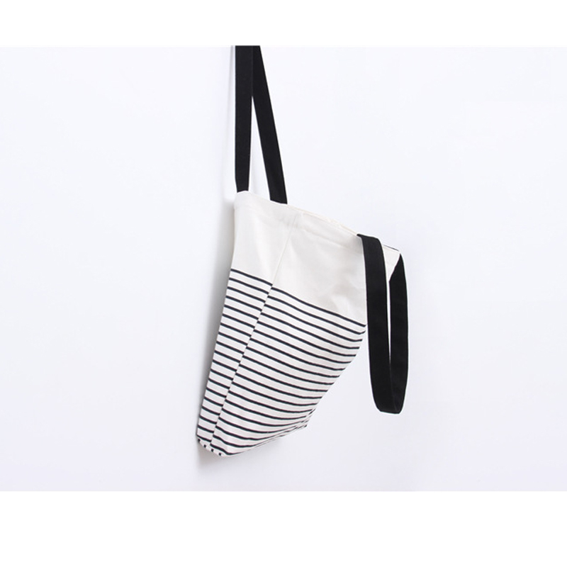 Stripe Pattern Printed Canvas Tote Female Casual Beach Bags Large Capacity Women Shopping Bag Daily Use Canvas Handbags(China (Mainland))