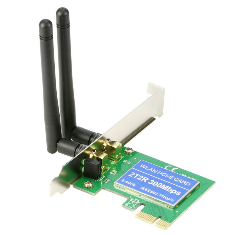 PCI-E Wireless Card Adapter 300M PCI Express WiFi Lan Network Adapter Dual Antenna 802.11B/G/N(China (Mainland))