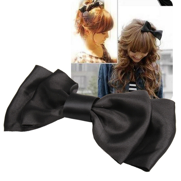 Black Decoration Satin Bow Hair Barrette Clip Butterfly Hairpin NIE#(China (Mainland))