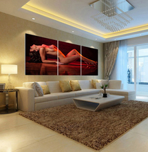 (Unframed) Home Decoration Wall For Bedroom Living Room Beauty Nude Decorative Pictures Print In 3 piece Canvas Art Painting(China (Mainland))