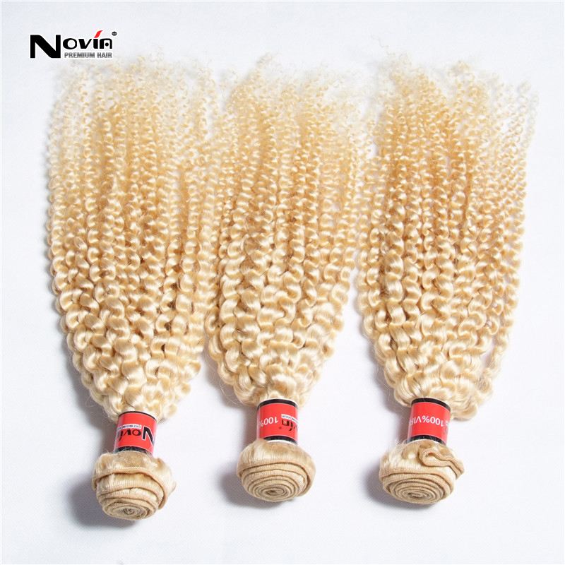 Best 6A Russian Kinky Curly Hair Extension Russian 613 Afro Jerry Curl Unprocessed blonde Human Virgin Remy Hair Weave 2Pcs Lot(China (Mainland))