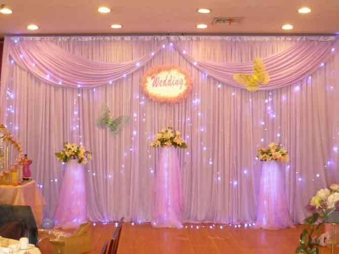 Curtain backdrop decorations decorate the house with for Background stage decoration