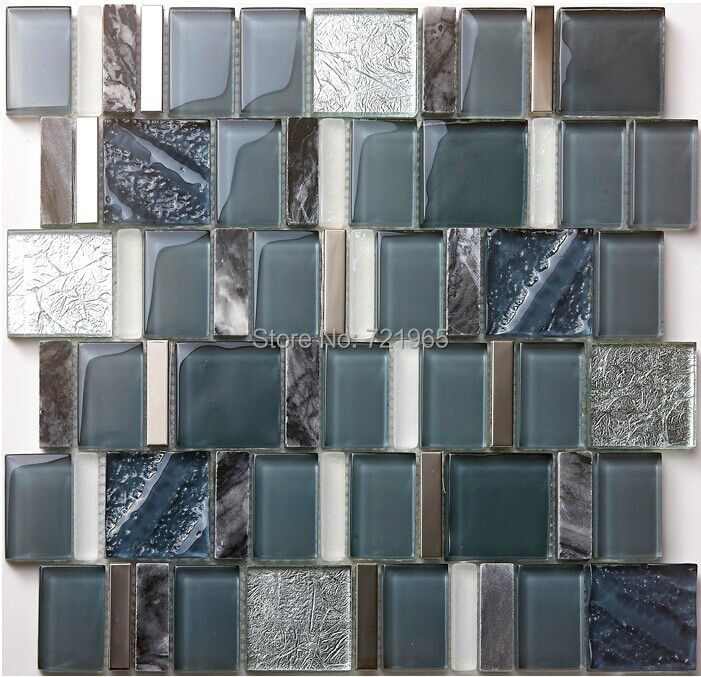 Crystal glass mosaic wall tile kitchen backsplash SGMT163 grey stone mosaic metal bathroom tiles glass stone mosaics tile<br><br>Aliexpress