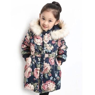 Fashion Floral Princess Big Girls Winter Parkas Padded Fur Hoody Jackets Kids Clothing casaco menina jaqueta Navy Beige G1070<br><br>Aliexpress