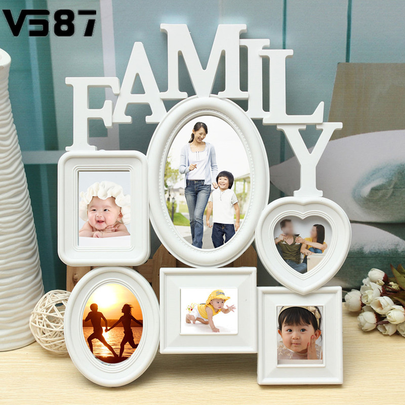 6 Frames White Plastic Family Photo Frame For Picture Wall Hanging Combination Photo Holder Display Home Room Decor Kids Gift(China (Mainland))