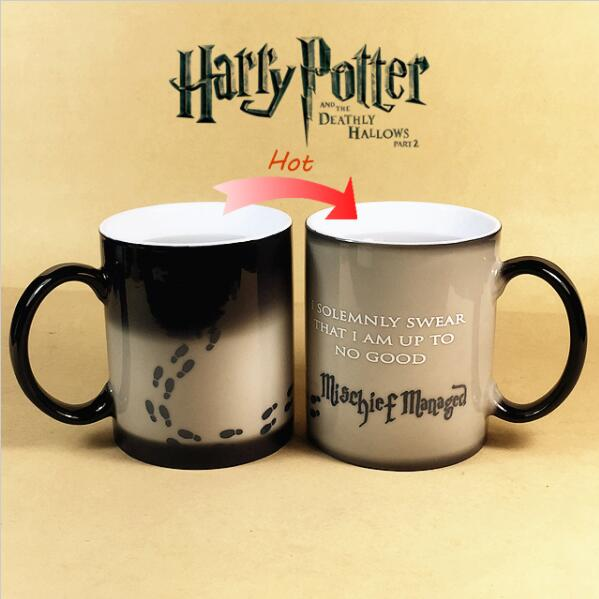 Drop shipping! Harry Potter Mug Color Changing Cup Mischief Managed Magic Coffee Sensitive Ceramic Heat Change Milk Taza Gift(China (Mainland))
