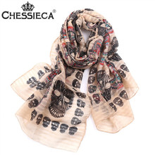 CHESSIECA Multi-Color Winter 2016 New Fashion Design Scarves Wraps Shawl Beach Vintage Voile Silk Scarf Skull Print for Woman(China (Mainland))