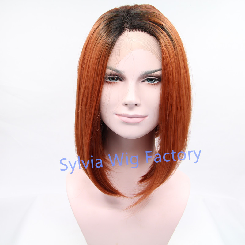 Natural look ombre wig dark roots short bob wigs for black women synthetic lace front wig heat resistant Hair large stock <br><br>Aliexpress