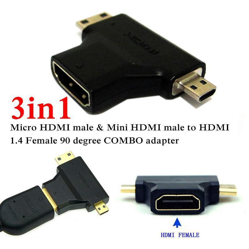 3 in 1 Micro HDMI Mini HDMI male to HDMI adaptor V1.4 Male to Female 90 degree M/F COMBO HDMI Adapter(China (Mainland))