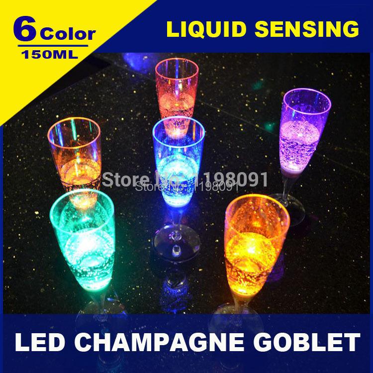 108pcs/lot Fantastic LED Luminous Plastic Champagne Glass Party Wedding Liquid Sensitive Glowing Wine Cup Goblet Wholesale(China (Mainland))