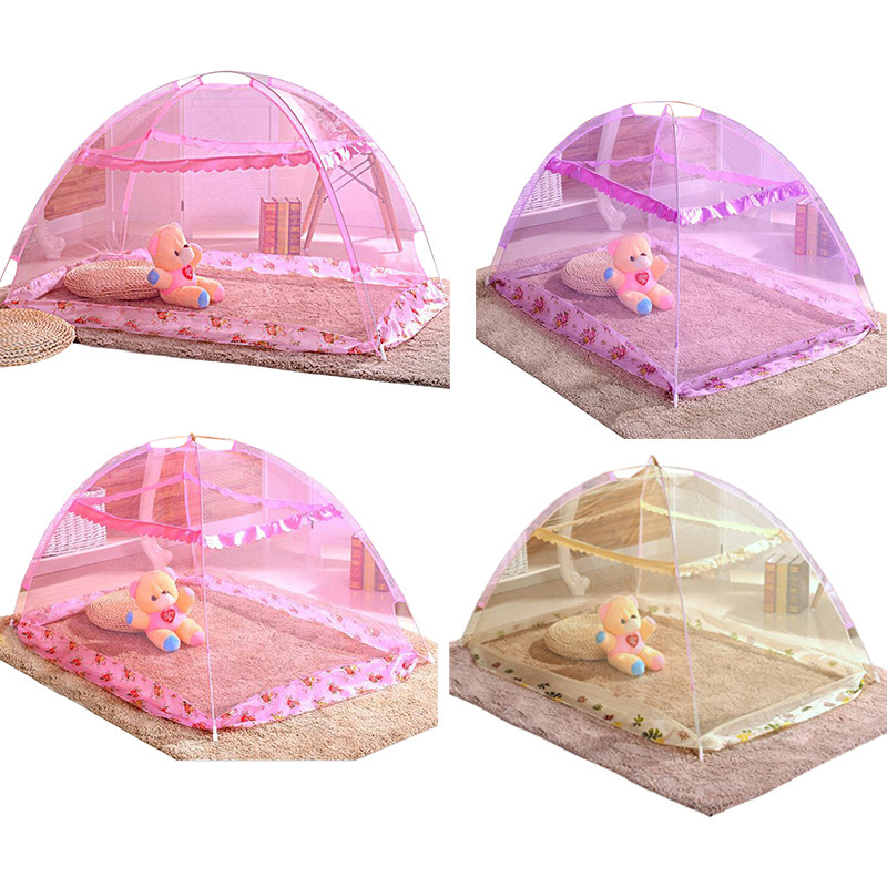 Cute Baby Kid Insect Resistance Mesh Ger Type Child Cot Bed Foldable Crib Netting Tent 3 Color Available(China (Mainland))