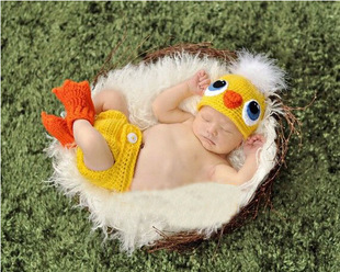 2pcs Chicken Plush Cosplay Handmade American Girls Photography Summer Style Knitted Newborn Carters Infant Clothes Baby Set<br><br>Aliexpress