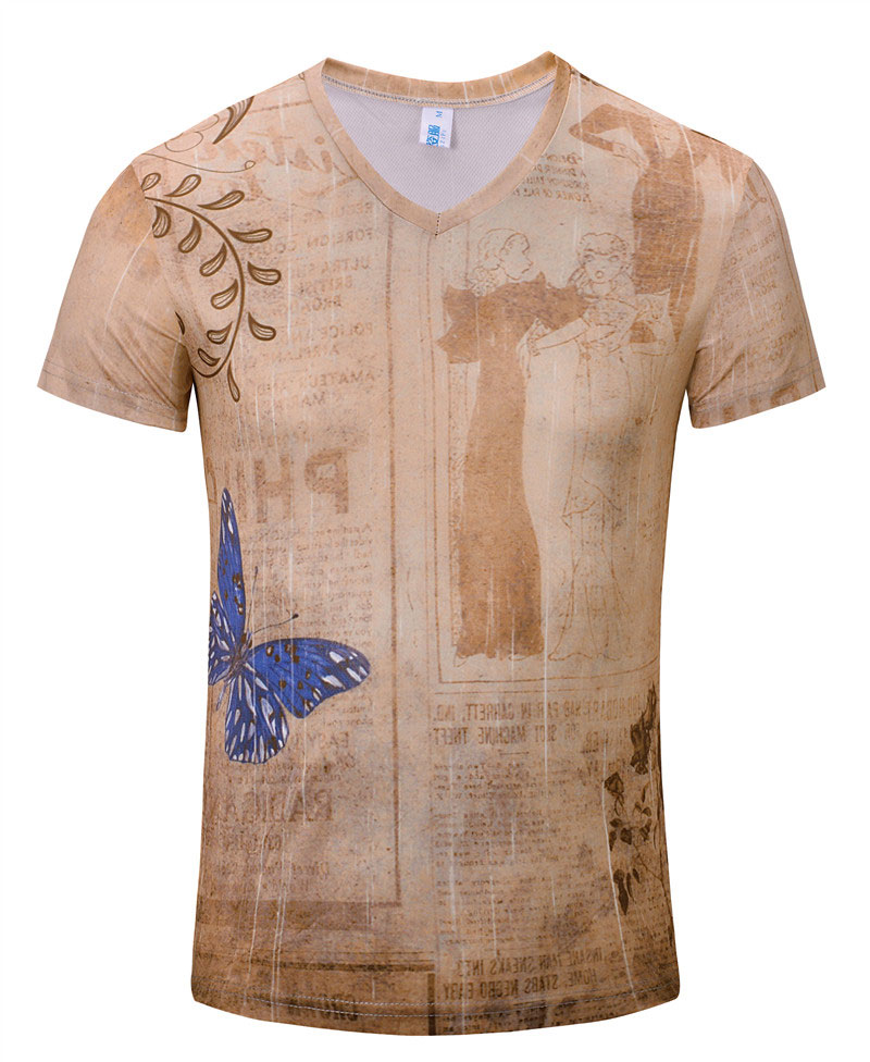 New summer vintage short sleeve v neck 3d printed t shirt for Tahari t shirt mens