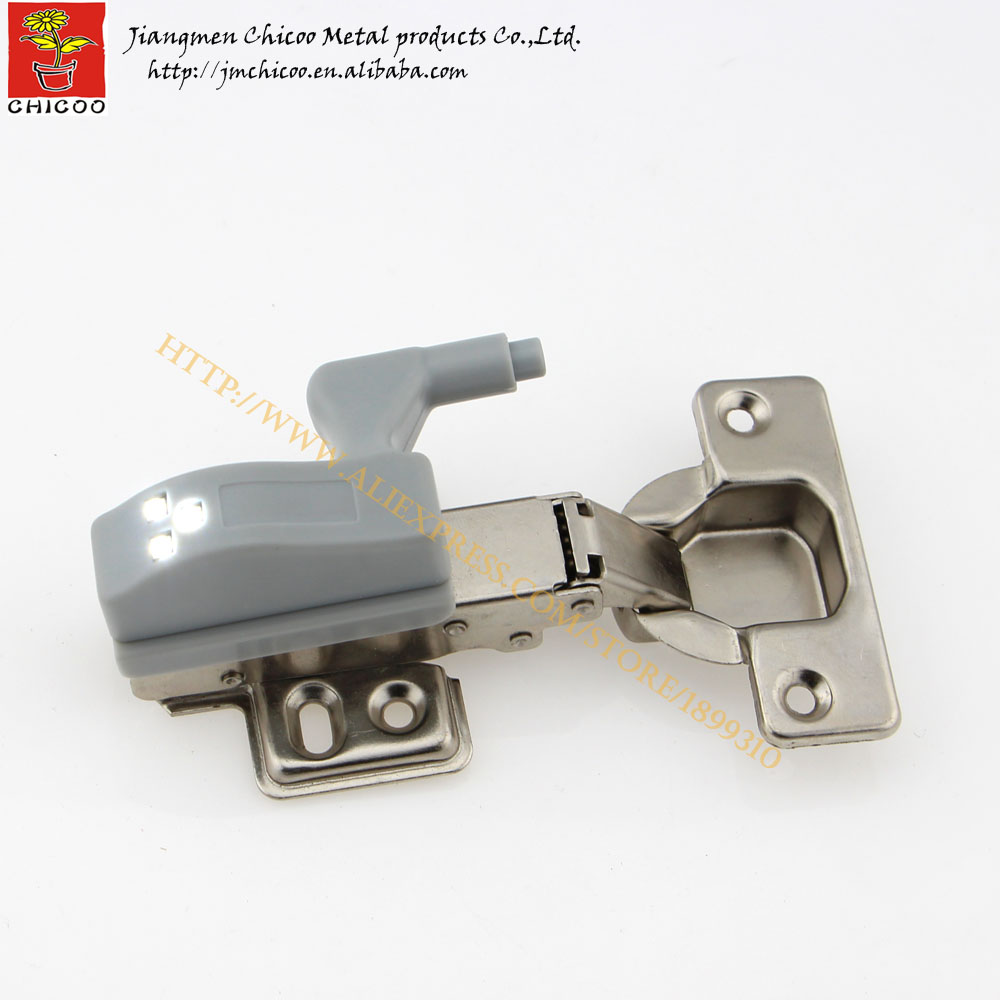 12pieces wholesale Full overlay furniture hinge with 0.25W led cabinet light kitchen Bedroom Living room Cupboard cabinet hinges(China (Mainland))