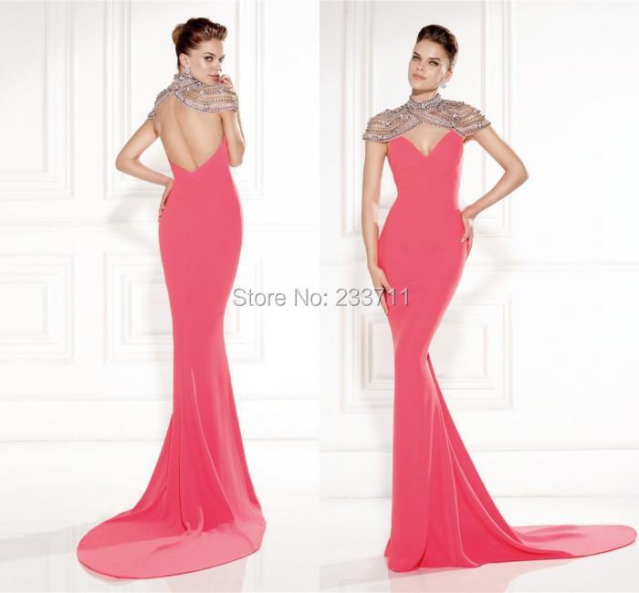 Очаровательная высокая шея длинная русалка арбуз вечерние платья для беременных женщины атлас вышивка бисером платье 11103