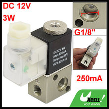 "DC 12V 3W 250mA 2 Position 3 Way Electromagnetic Solenoid Valve G1/8"" Discount 50(China (Mainland))"