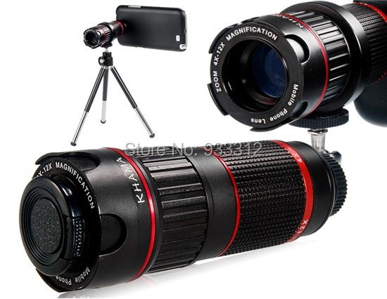 Wholesale/4-12X Optical Magnification WIth Case Adjustable Telescope Camera Photo Lens+Mini Tripod For Sasmung S5 S4/S3 I9300(China (Mainland))