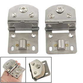 2 Pcs Replacement Part Wall to Glass Alloy Hinge Silver Tone(China (Mainland))