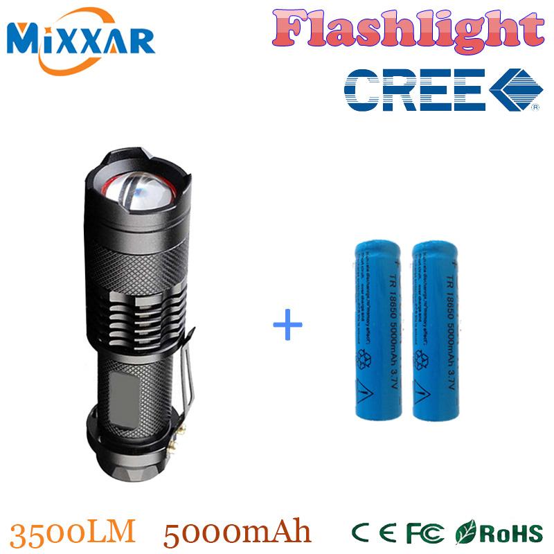 zk50 Hot Sale CREE XM-L2 3500LM led lanterna LED High power light Waterproof led Flashlights Torch+2*18650 5000mAh Battery(China (Mainland))