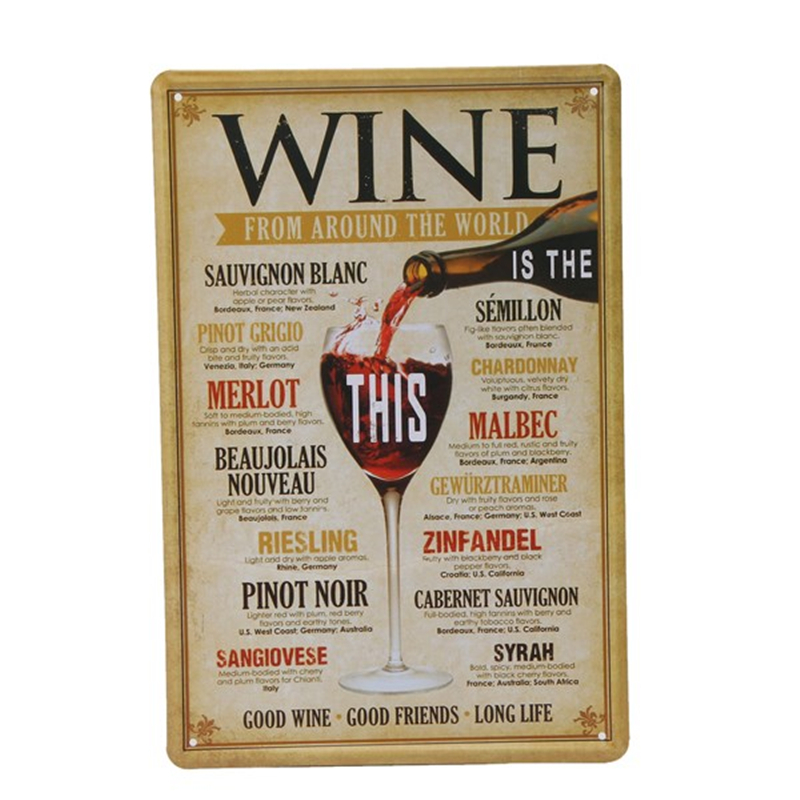 Wine From Around The World Home Decor Pub Bar Tavern Garage Tin Sheet Metal Sign Vintage Picture 7.8x11.8inch Free Shipping A231(China (Mainland))