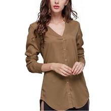 Spring Autumn Style Women Blouses Shirt 2016 New Fashion Back Split Long Sleeve Blusas V-Neck Button Decoration Tops S M L XL(China (Mainland))