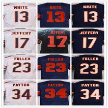 Best quality jersey,Men's 13 Kevin White 17 Alshon Jeffery 23 Kyle Fuller 34 Walter Payton 89 Mike Ditka elite jersey,White,Blue(China (Mainland))