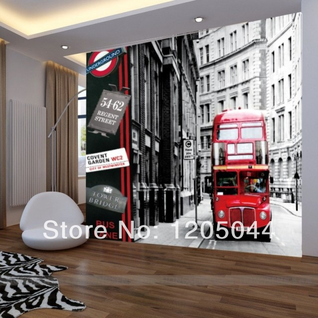 Free shipping london city buses large living room bedroom for Black and white london mural wallpaper