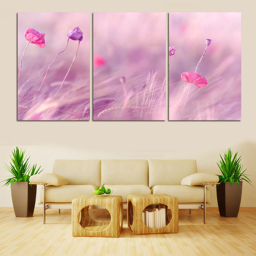 3 Panels Modern Printed Flower Canvas Art Painting Picture