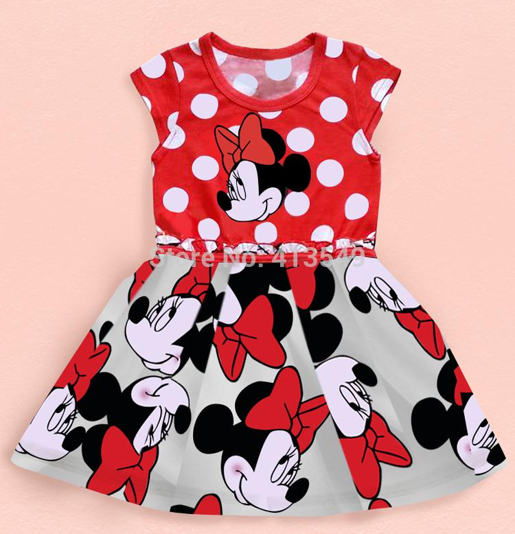 free shipping 2015 girl dress kids clothes cartoon princess TUTU dot short sleeve dresses children's clothing(China (Mainland))