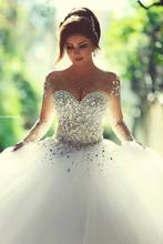 Amazing stunning lots swarovski crystals pearls stones luxury wedding dress 2015 outstanding ball gown tulle bridal dress(China (Mainland))