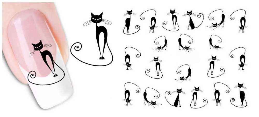 2015 New Fashion 1 Piece Sheet 3D Design Tip Nail Art Sticker Decal Carving Long Tail Cat Shape Tools - Shenzhen Robinzon store