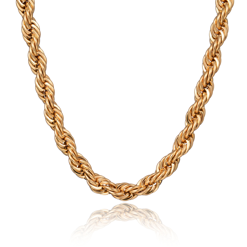 Simple Stainless Steel 18K Gold Plated Rope Chain Necklace Statement Swag Stainless Steel Twisted Necklaces Chain Men Jewelry(China (Mainland))