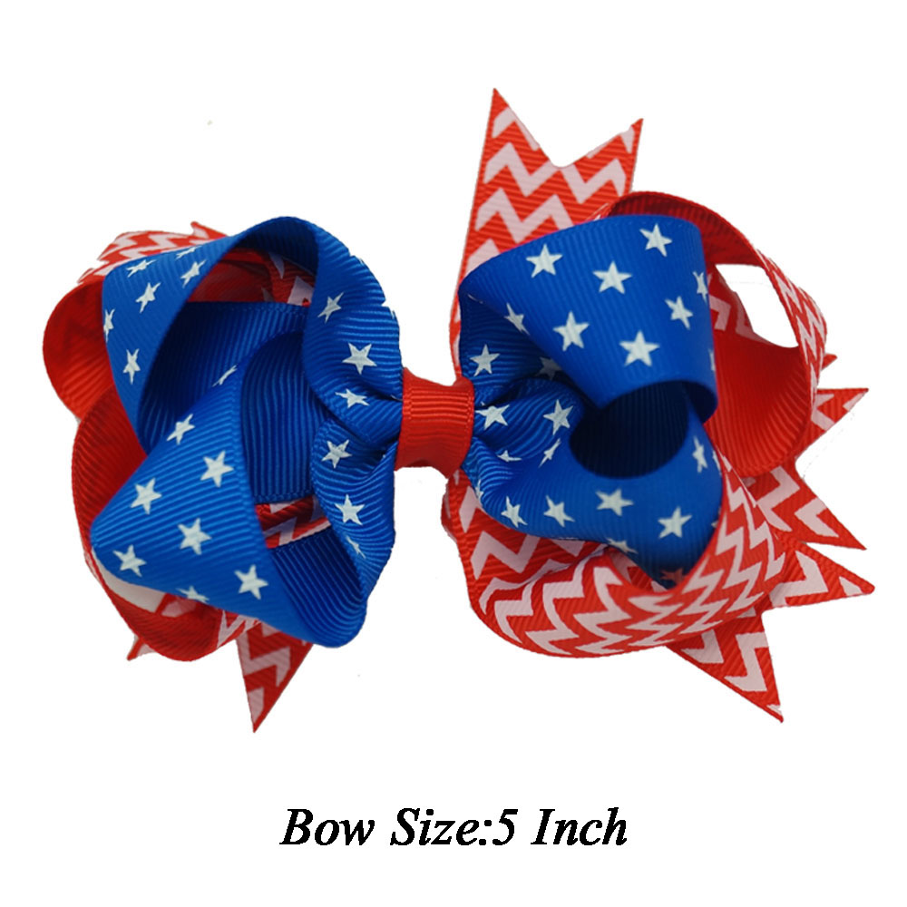 "5 "" Fashion Flag Girls Stacked Hair Bow Hairclip 4th of July Decoration Boutique Kids Baby Girls Hair Pin Accessories Polyester(China (Mainland))"