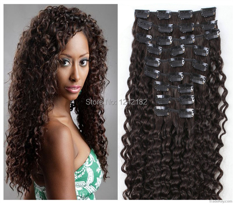 Deep Curly Clip In Human Hair Extensions Prices Of Remy Hair