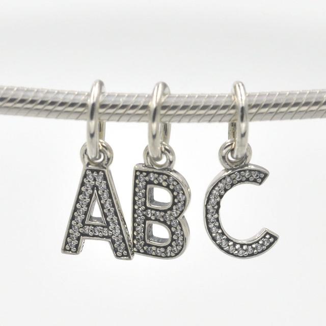100% гарантировали 925 буквы алфавита abc очарование кулон подходит пандора браслет ...