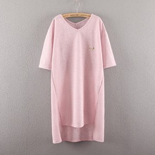 Maternity Summer Long Design T-shirt Pink Back White 3 Colors Short-sleeve O-neck Woven Pregnancy Tees Shirts Tops 8182(China (Mainland))