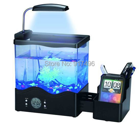 usb small aquarium multifunctional penholder mini aquarium aquarium office desk with led light tank office desk aquarium