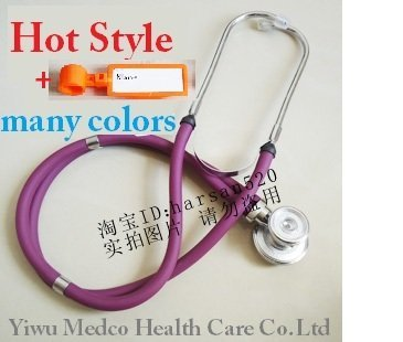Free shipping high quality multicolor multi functional improved dual head stethoscope with free name card double head echoscope