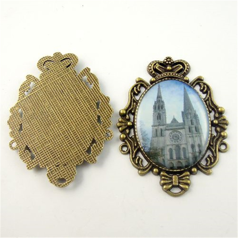 47mm Vintage Bronze Epoxy Church Cologne Cathedral Jewelry Charm Pendant 8pcs 09866(China (Mainland))